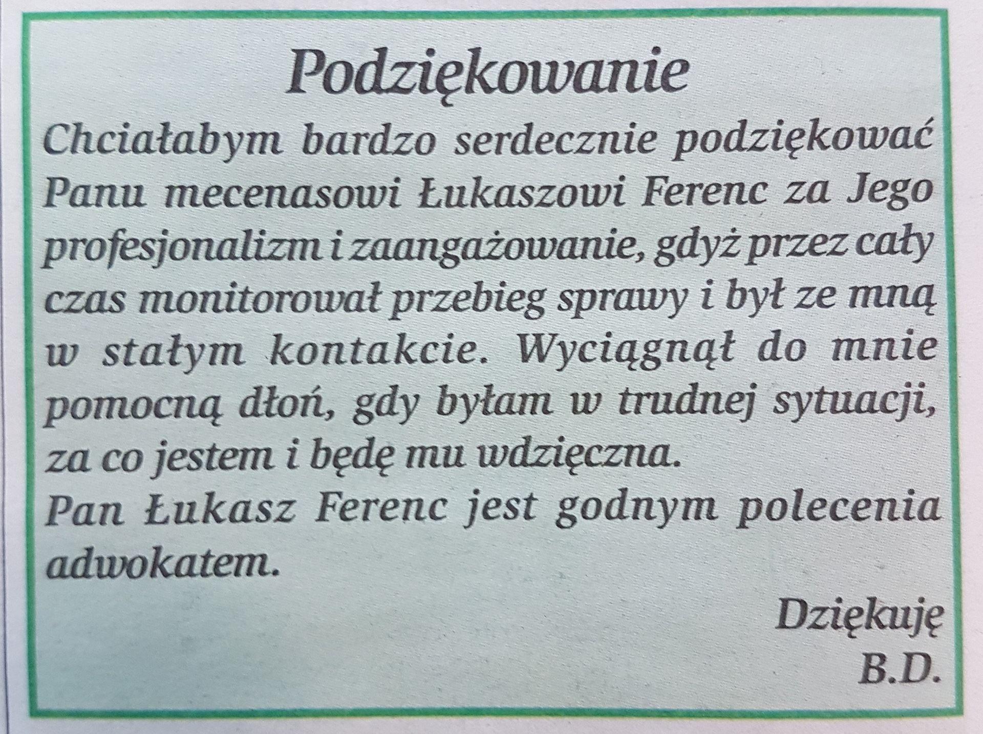 Łukasz Ferenc Adwokat Jawor